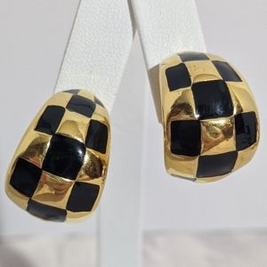 Chunky Vintage Black Gold Checkered Clip Earrings